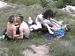 Gay hippies having sex in nature