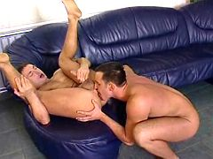 Well hung studs have fiery assfuck on leather sofa