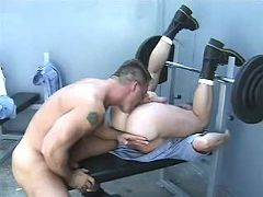 Beefy criminals assfuck and jizz on prison yard