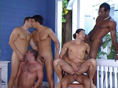 Six interracial man-lover chaps blow and fuck by pool