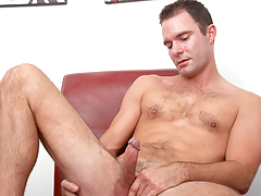 hot mature male with hairy torso jerks off his tasty cock
