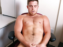 Marko Lebeau jerks his unchipped cock while sitting at his desk