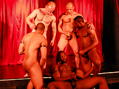 5 sweaty dick-holders rehearse on stage for a R/T interracial sex show