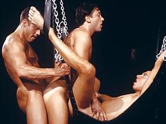 three sweaty fellows enraptured in a tight, happy daisy-chain!