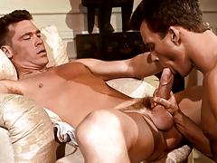 B.J. uses his gargantuan weenie to drill Adam's firm ass !