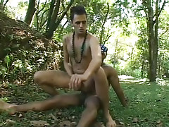 Twofold latin and black guys go at it in the woods hardcore in 3 clip