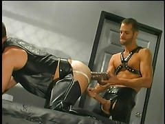 Leather  guys having faggot copulation in 3 video