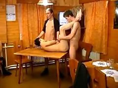 Twink is nailed heavily on the table in drunk orgy