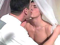 Romantic twink spoils cute boyfriend in roses bed