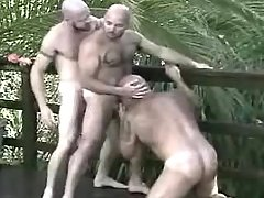 Lusty mature gays suck and lick in group