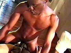 Black gay slut serving hungry hunk