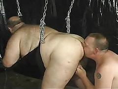 Mature gay licks fat males ass