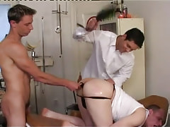 Dirty gays spank and dildofuck males ass