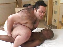 Horny bear gay rides huge black cock