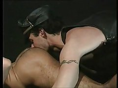 Bear gay licks hairy muscle ass on floor