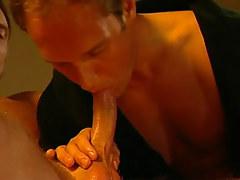 Horny gay greedily sucks cock