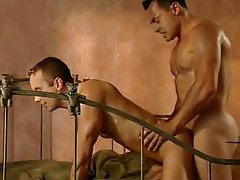 Naughty hunks fuck in doggy style