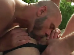 Bear gay licks hairy males ass outdoor