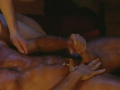 Hairy gay man jizzes after anal