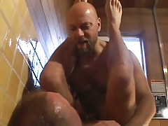 Mature bear gays fuck in shower