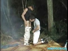 Latin gay twinks suck in dark forest