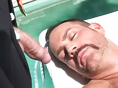 Mature hairy gay relaxes by pool