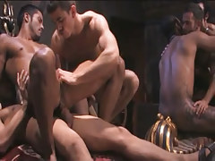 Interracial gays crazy fuck in gangbang