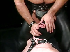 Depraved mature gay in leather tortures poor lad