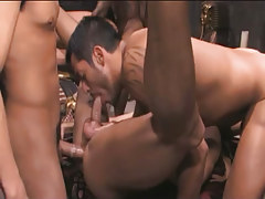 Hairy eastern gays suck and fuck in gangbang