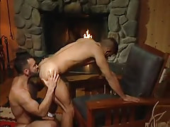 Bear gay licks appetizing ass by fireplace