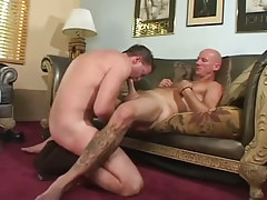 Hairy gay man sucked by dad
