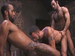 Tattooed Arabian gays share dude in pyramid