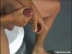 Latin mature gay cums after handjob