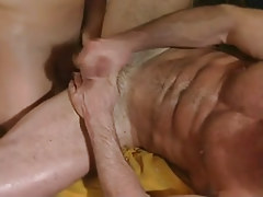 Hairy gay jizzes with cock in ass
