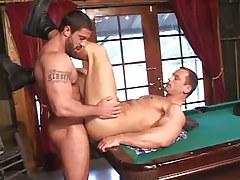 Hairy gay drills cute boyfriend on billiard table