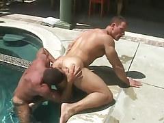 Mature muscle gay licks elastic guys ass in pool