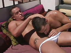 Horny dad sucked by boy on terrace