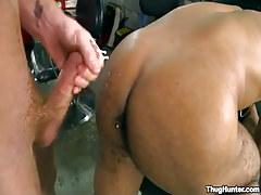 Dark stud gets cream on elastic buttocks