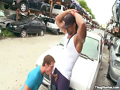 Black gay sucked by white boyfriend outdoor